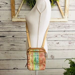 Fossil Tan Floral Leather Crossbody Bag